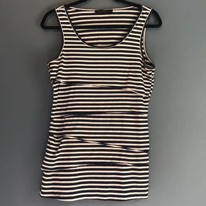 The Limited Navy Blue and White Stripe Tank Top